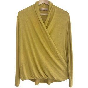 Philosophy Fuzzy Long Sleeve Wrap Top in mustard